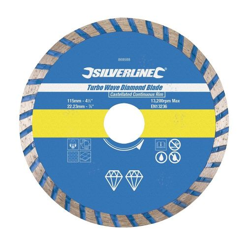 Silverline 868588 Turbo Wave Diamond Blade 115mm x 22.23mm Castellated Continuous Rim
